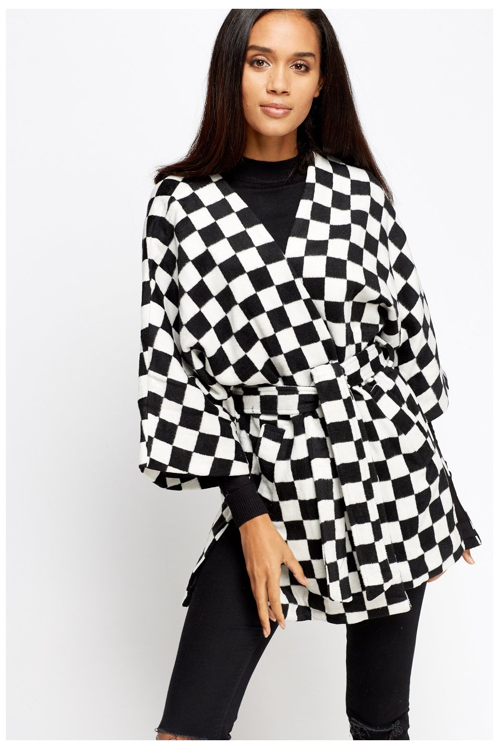mono grid 3 4 sleeves jacket black white 45486 4