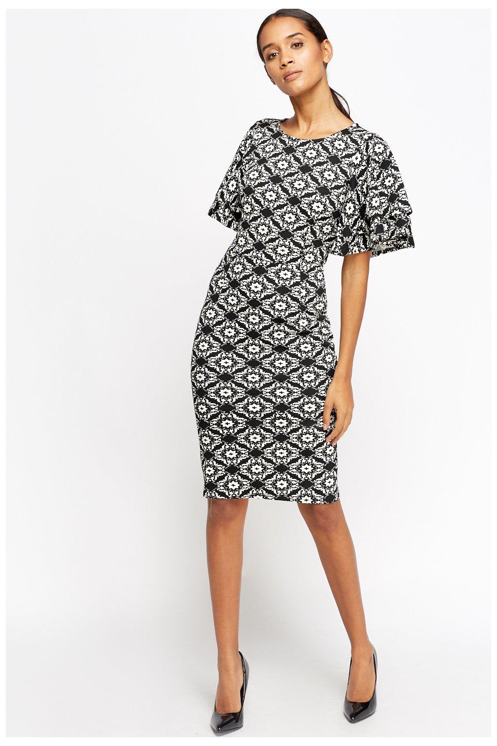 flare sleeves textured midi dress black white 45510 5