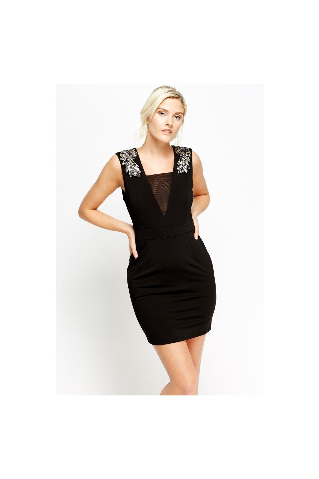 embellished shoulder mini black dress black 43954 4