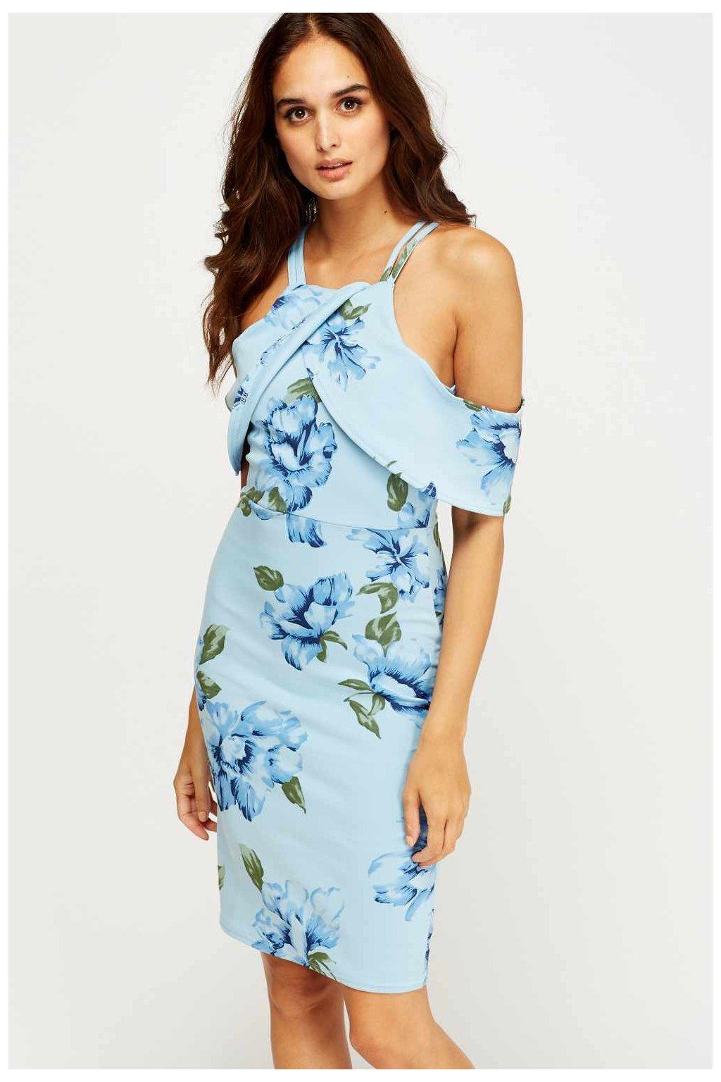 Modré šaty s volnými rameny zpředu