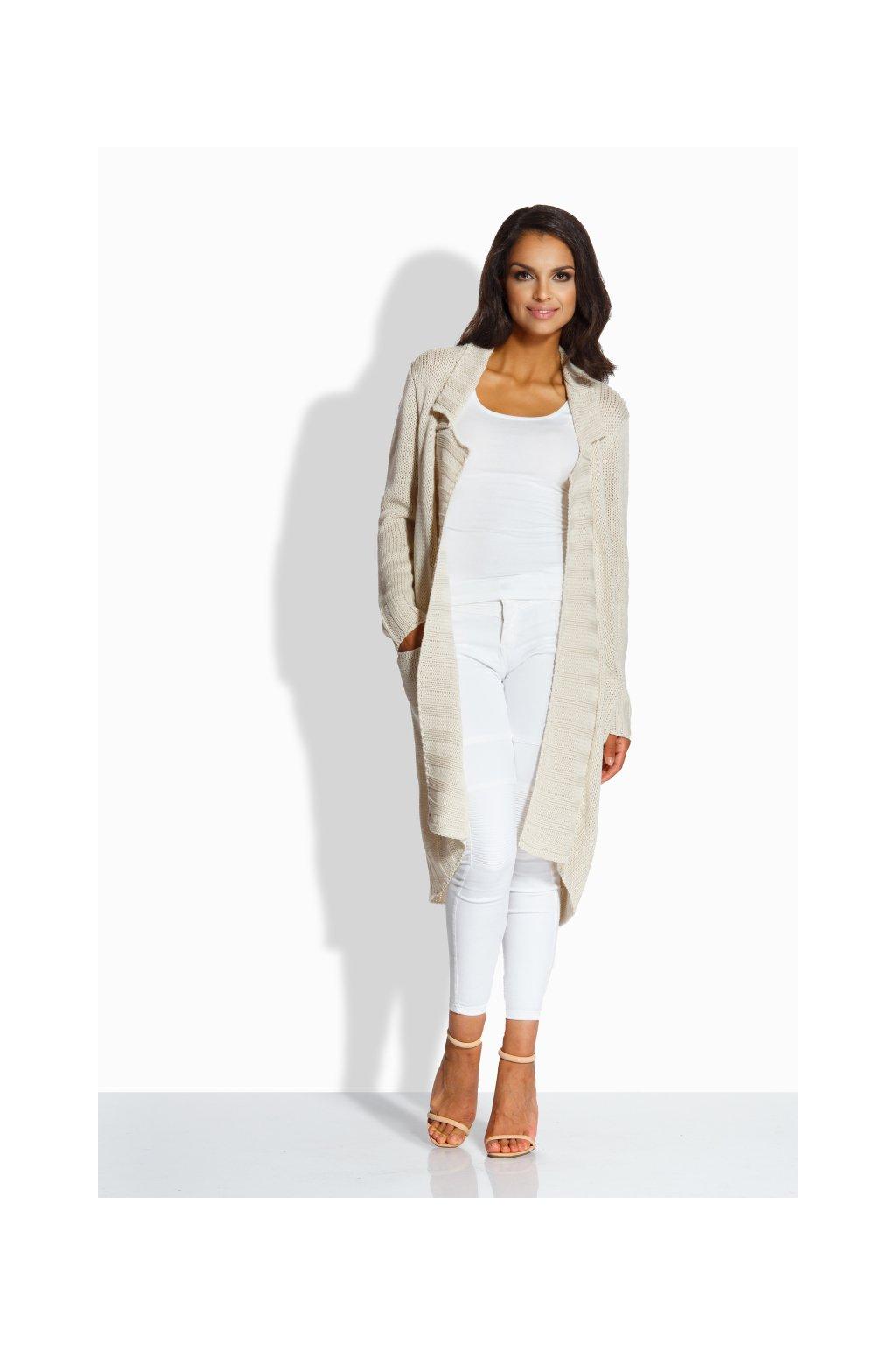 Dámský pletený kabátek Lemoniade LS186 béžový zepředu