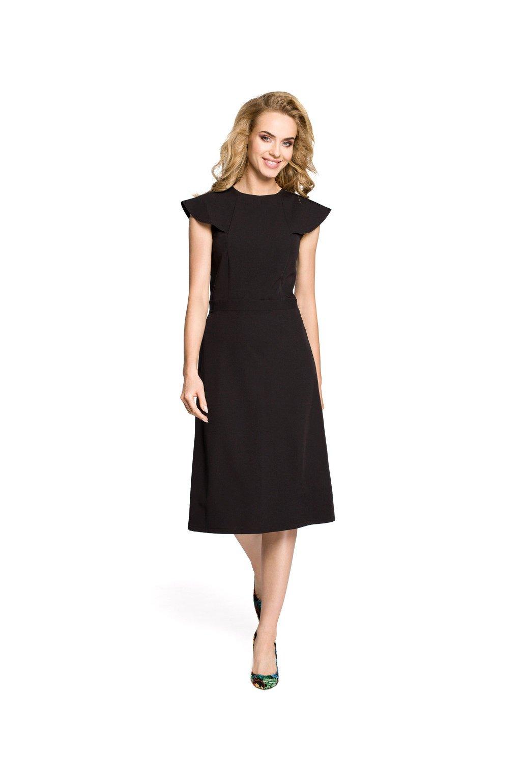 Dámské elegantní šaty MOE M311 černé zepředu