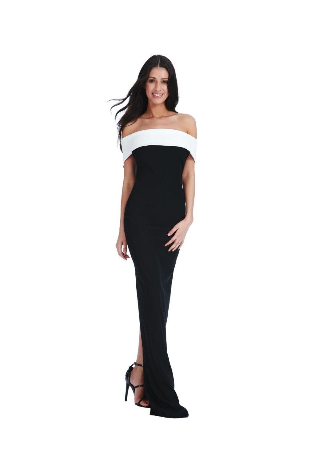 Černé společenské šaty s odhalenými rameny zepředu