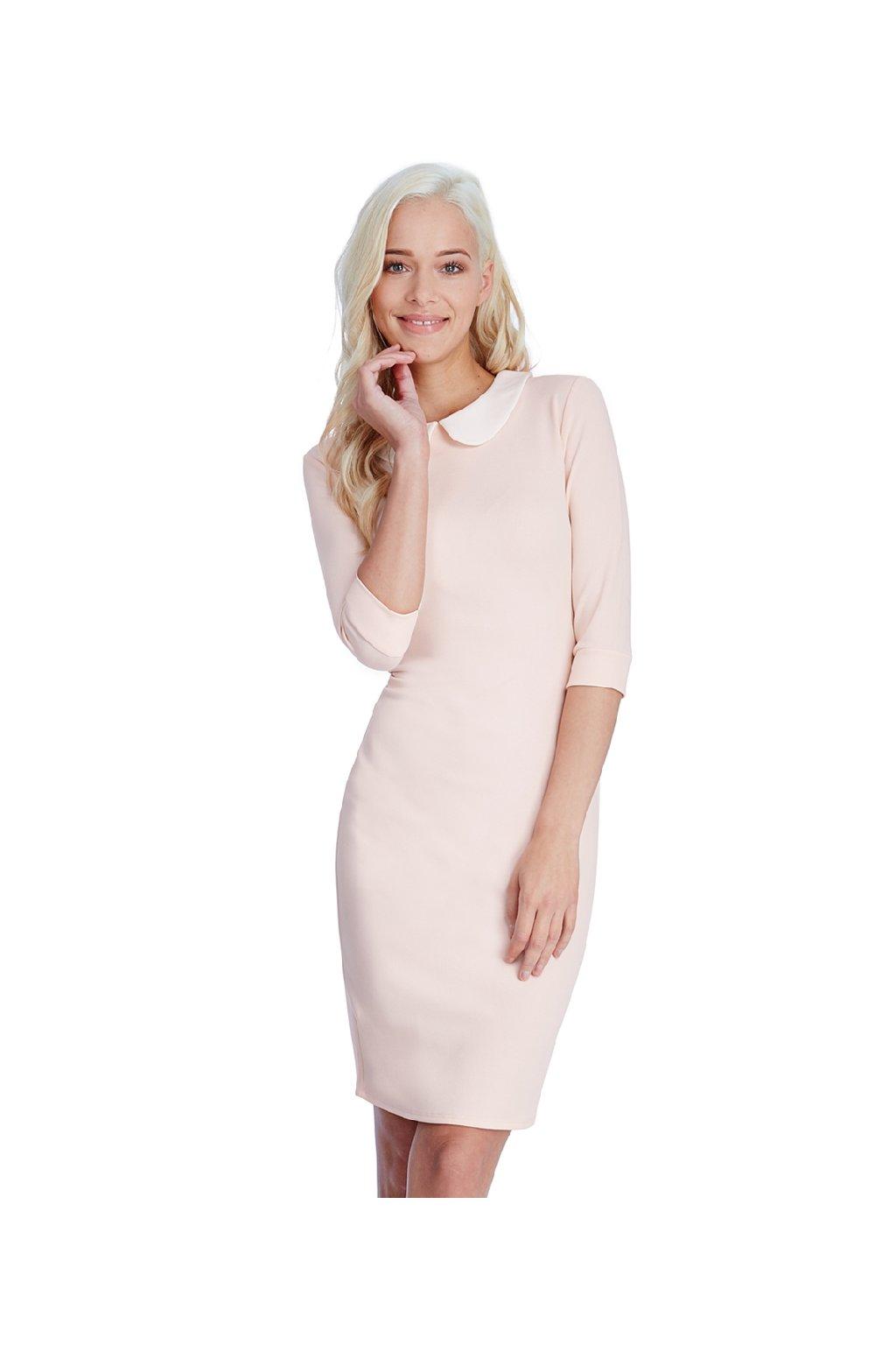 Broskvové šaty s bílým límečkem zepředu