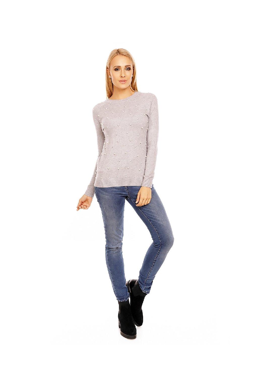 Dámský šedý svetr s perličkami zpředu