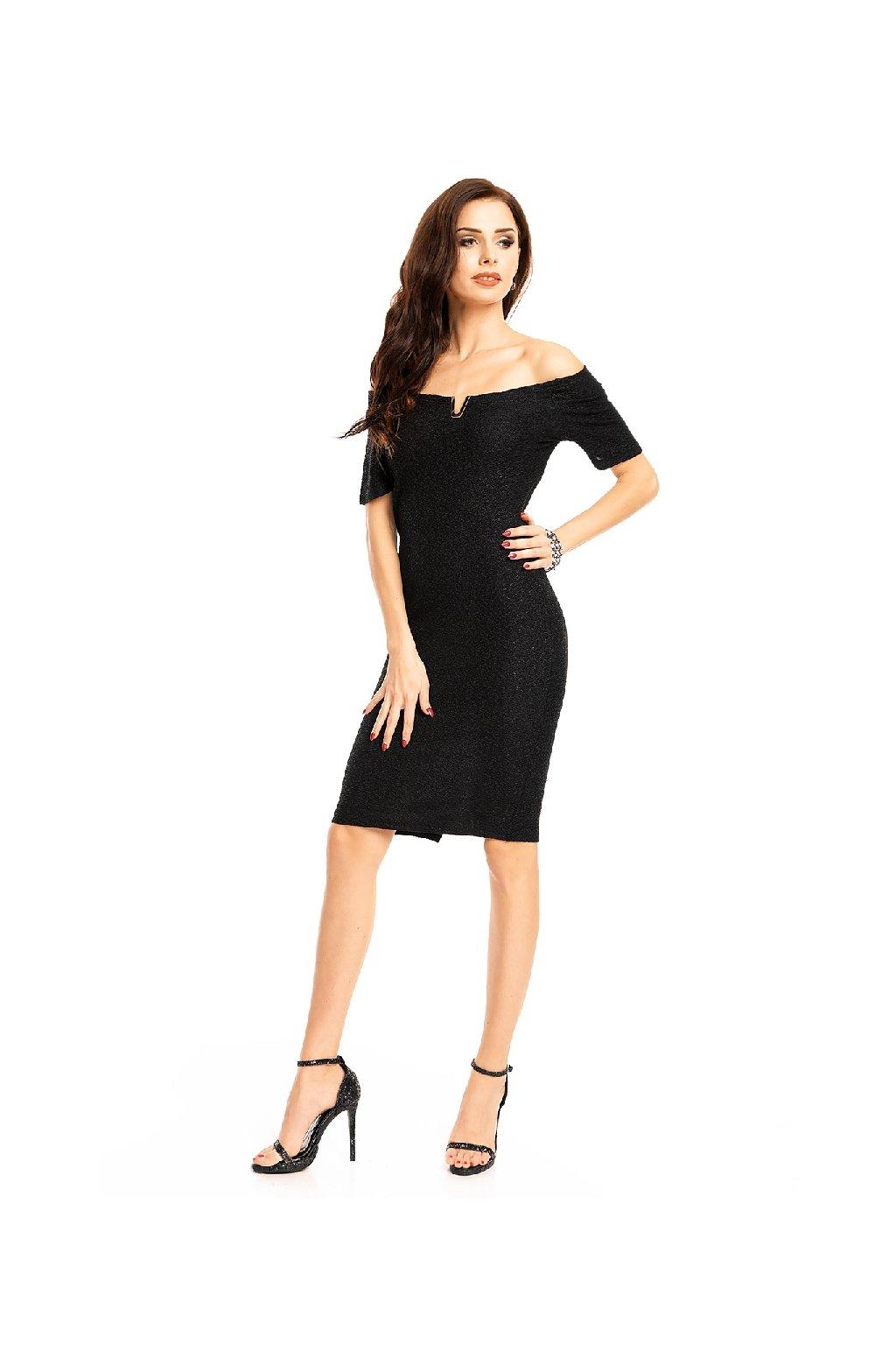 Elegantní černé šaty s širokým výstřihem zepředu
