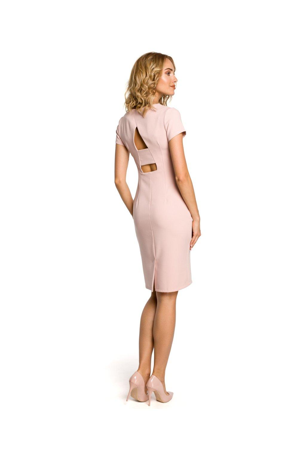 Dámské elegantní šaty MOE 186 růžové zezadu