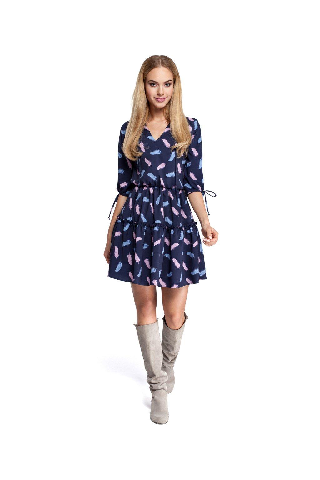 Dámské romantické šaty MOE 300 modré s pírky