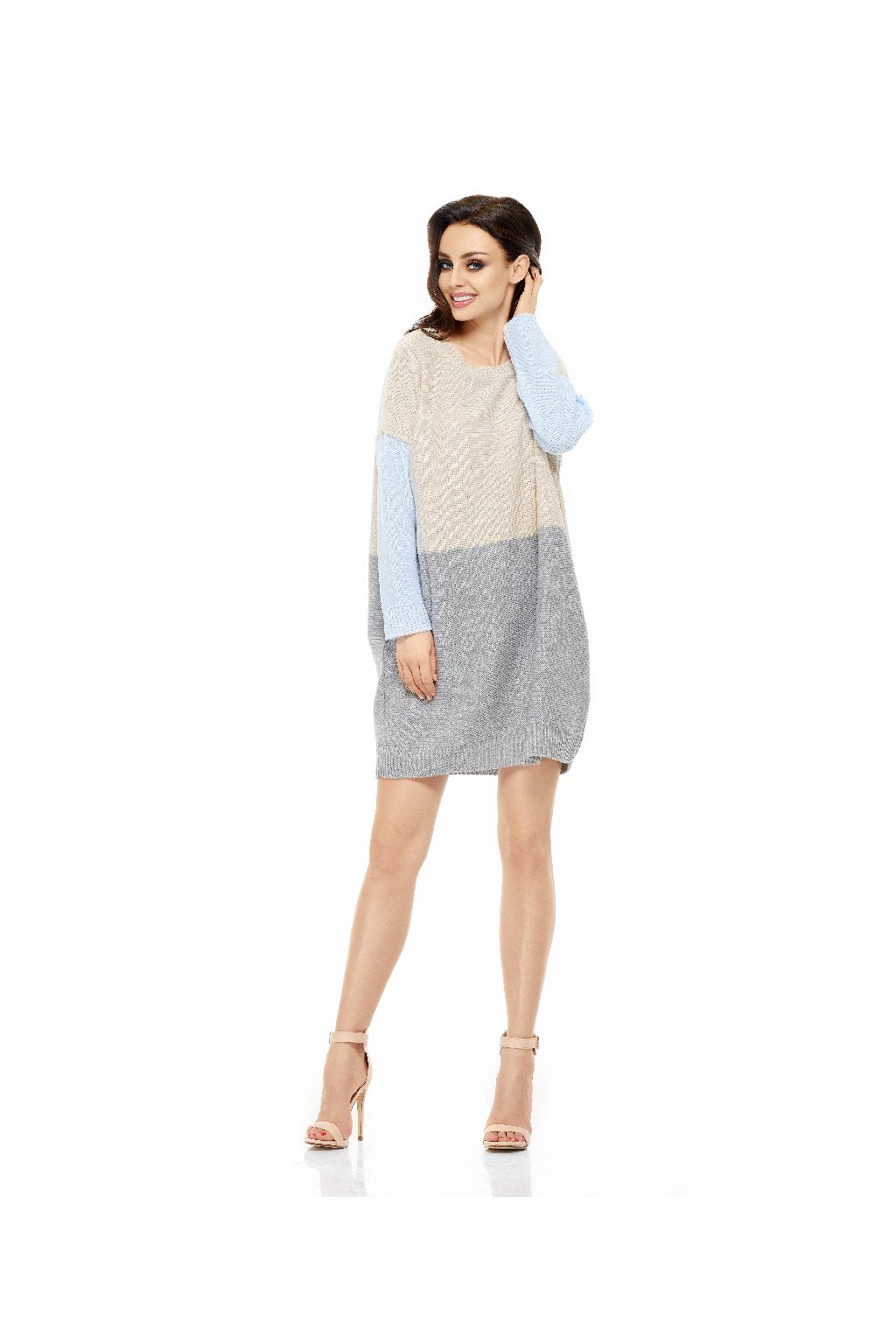 Dámské pletené šaty Lemoniade LS203 modrošedobéžové 1