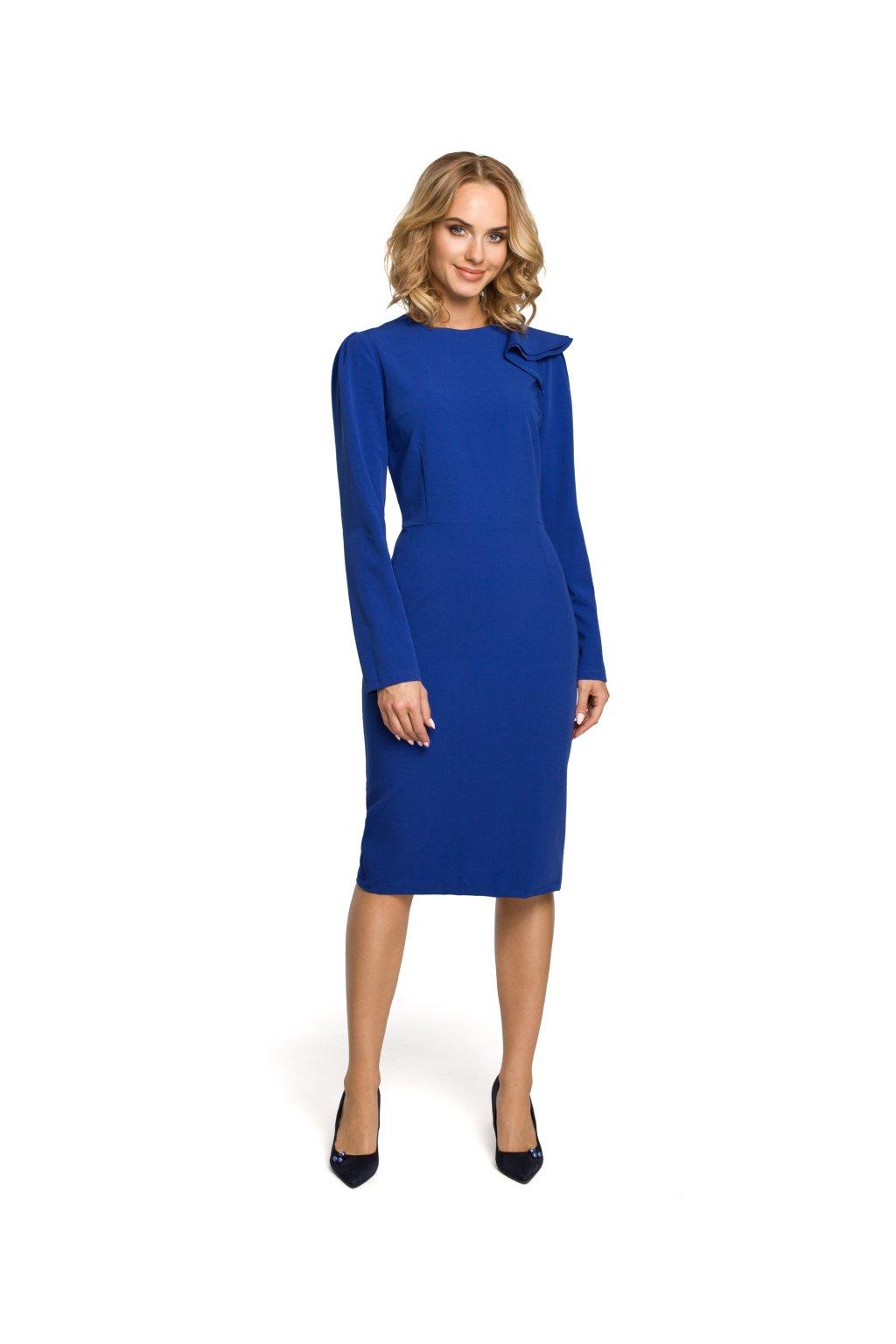 Elegantní pouzdrové šaty MOE 326 modré c7542867f5
