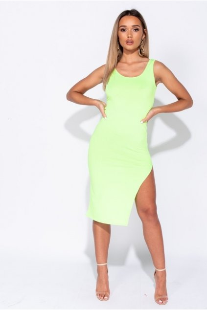 thigh split scoop neck bodycon midi dress p6862 251003 image