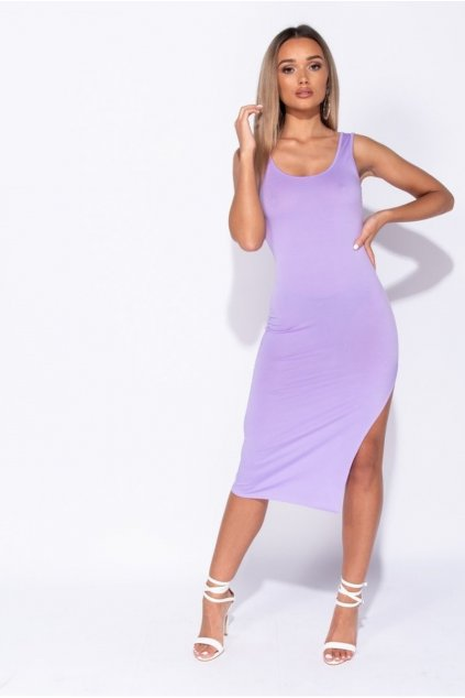 thigh split scoop neck bodycon midi dress p6882 251329 image