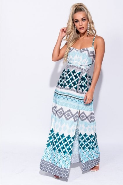 geometric print tie waist thigh split maxi dress p7031 267926 image