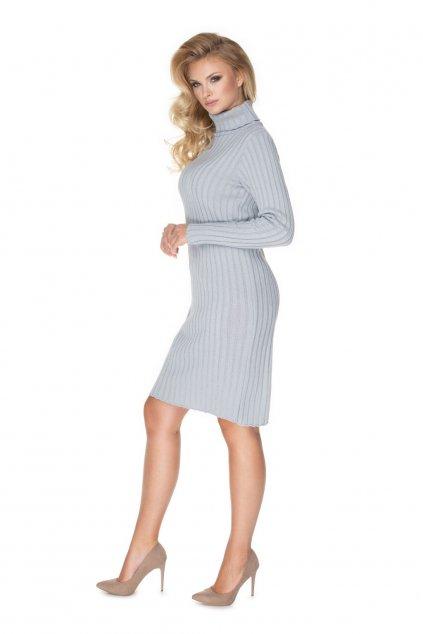 Pletené šaty s rolákem PeeKaBoo 70026 šedé