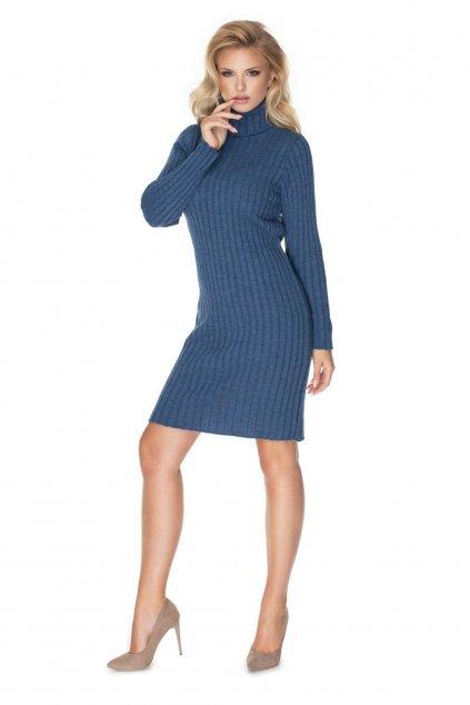 Pletené šaty s rolákem PeeKaBoo 70026 modré