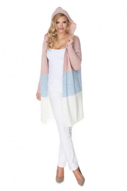 Pruhovaný pletený kabátek PeeKaBoo 30069 pastelový