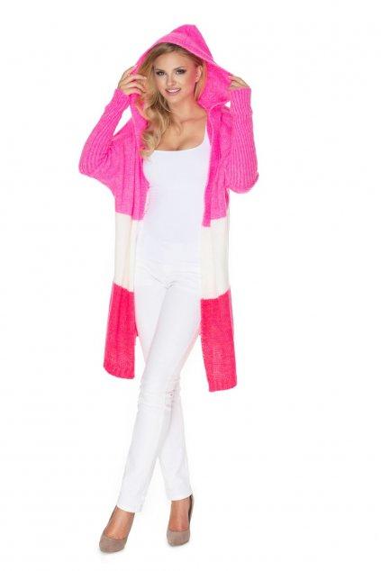 Pruhovaný pletený kabátek PeeKaBoo 30069 růžový