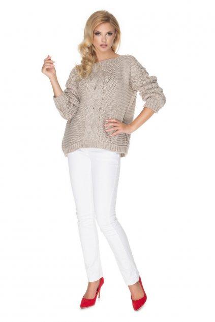 Hrubě pletený svetr PeeKaBoo 30065 béžový