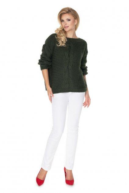 Hrubě pletený svetr PeeKaBoo 30065 khaki
