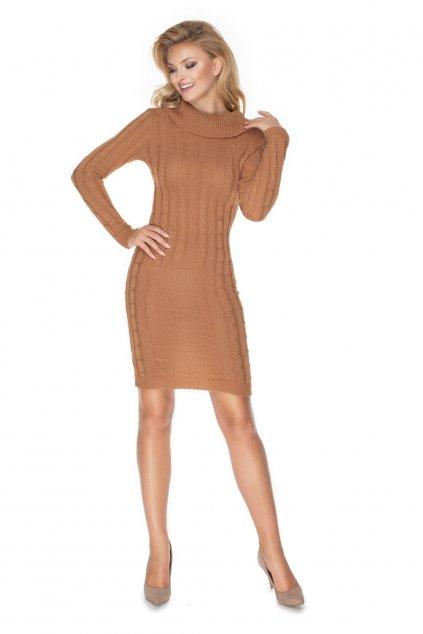 Pletené šaty s rolákem PeeKaBoo 40037 hnědé