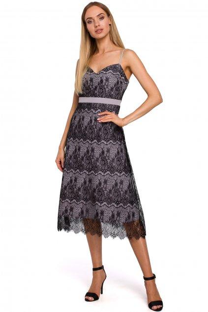 Společenské krajkové šaty MOE 483 šedé