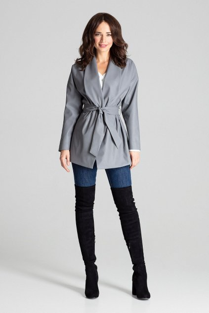 Kabátek z umělé kůže Lenitif L074 šedý