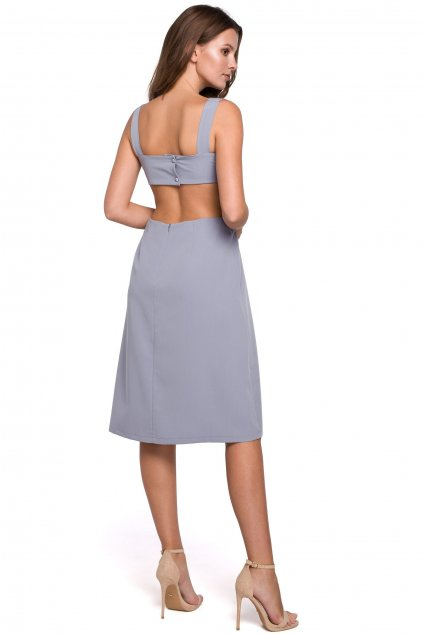 Šaty s volnými zády Makover K011 šedé