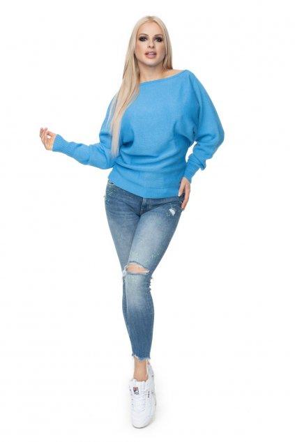 Lehký svetr s netopýřími rukávy PeeKaBoo 70003 modrý