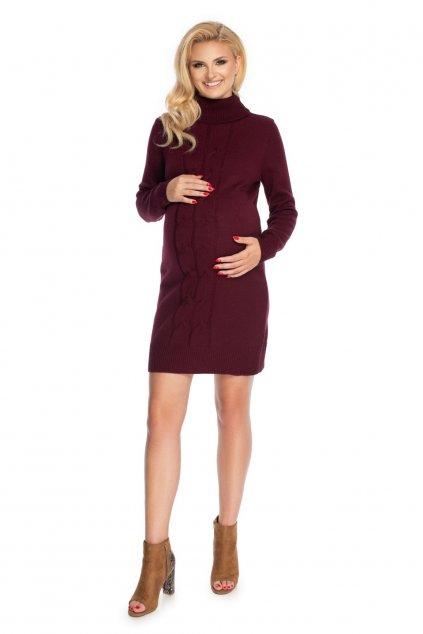 Pletené těhotenské šaty PeeKaBoo 70033 bordó