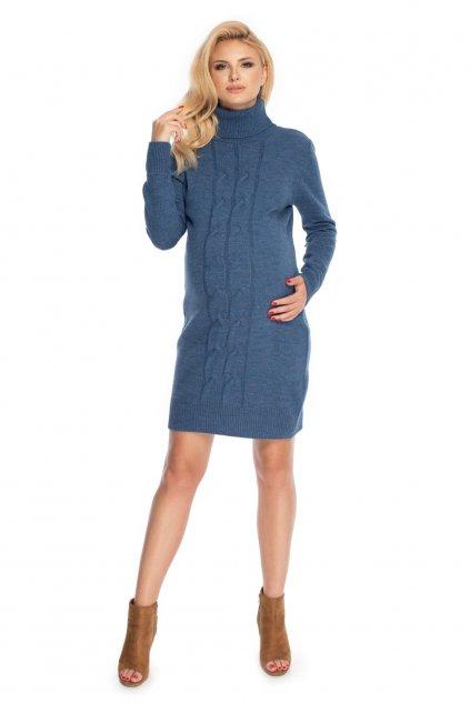 Pletené těhotenské šaty PeeKaBoo 70033 modré