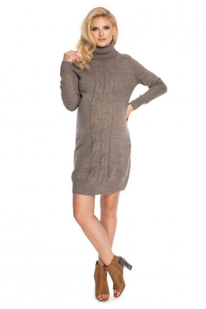 Pletené těhotenské šaty PeeKaBoo 70033 hnědé