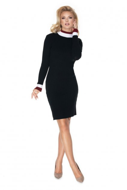 Pletené šaty s rolákem PeeKaBoo 70023 černé