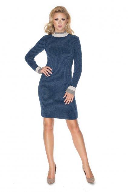 Pletené šaty s rolákem PeeKaBoo 70023 modré