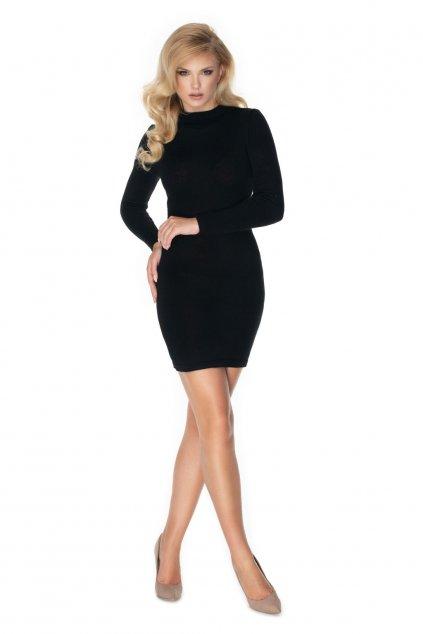 Pletené šaty s rolákem PeeKaBoo 40039 černé