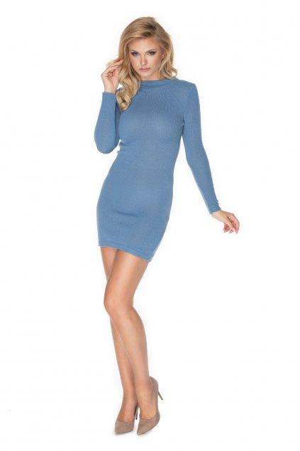 Pletené šaty s rolákem PeeKaBoo 40039 modré