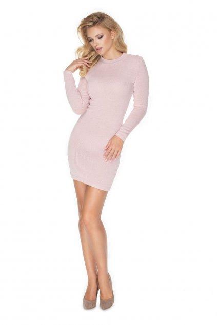Pletené šaty s rolákem PeeKaBoo 40039 růžové