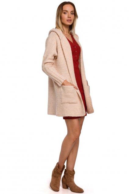 Pletený kabátek MOE M556 béžový