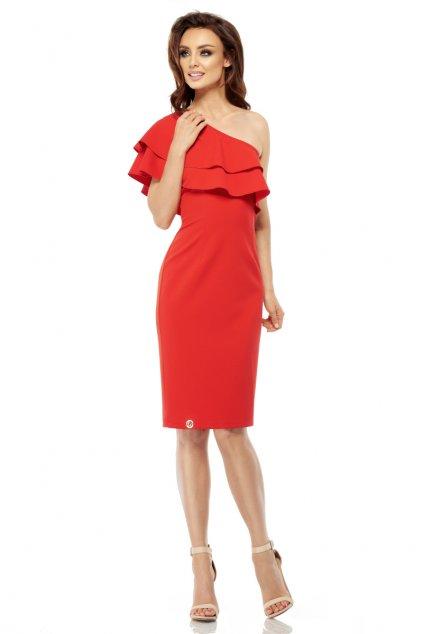 Letní šaty s na jedno rameno Lemoniade L254 červené