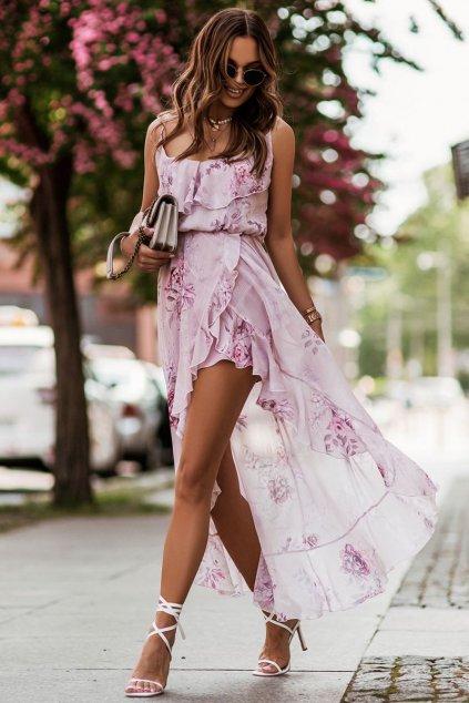 Romantické šaty s volány Ivon Amis růžové