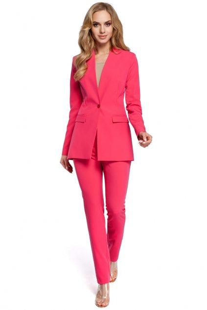 Elegantní dámské sako MOE M304 růžové zepředu