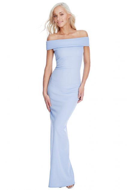 Modré společenské šaty s odhalenými rameny zepředu