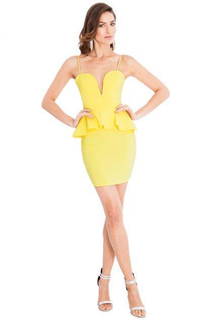 Letní žluté peplum šaty zpředu