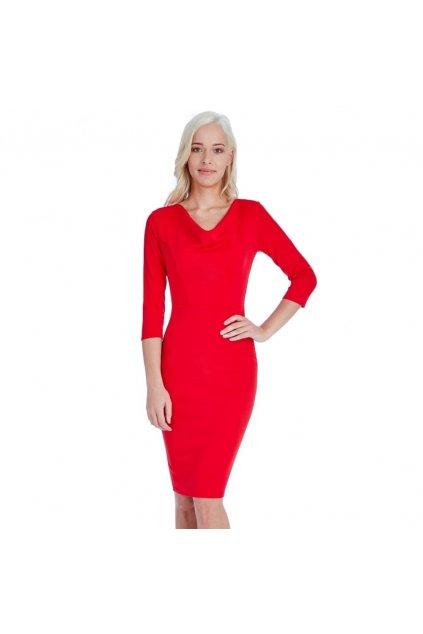 Červené elegantní šaty zepředu