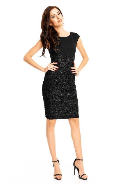 Slavnostní černé šaty s krajkovou sukní zepředu