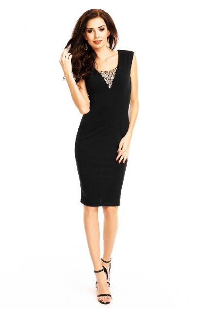 Černé šaty s ozdobným výstřihem zepředu