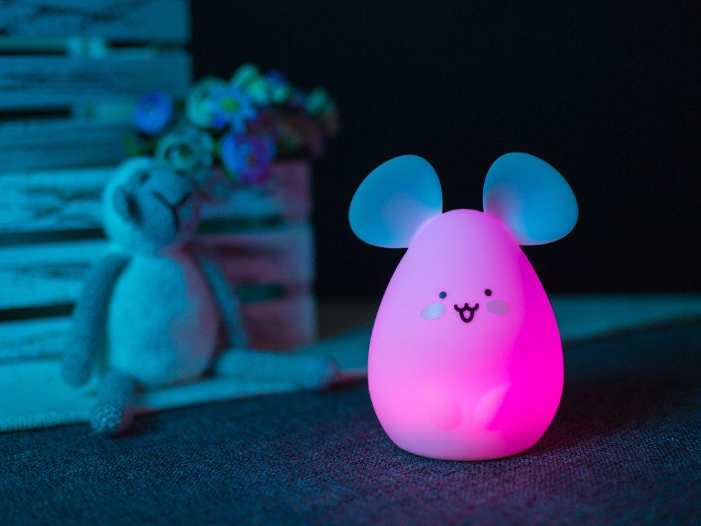 Noční lampička myš růžová