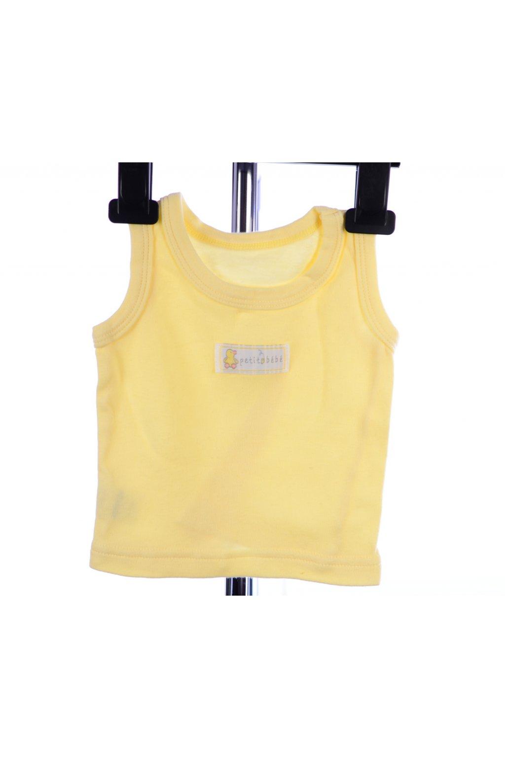 Tričko tílko Petit bébé 0-3 Měs/ 50-56-62 žluté