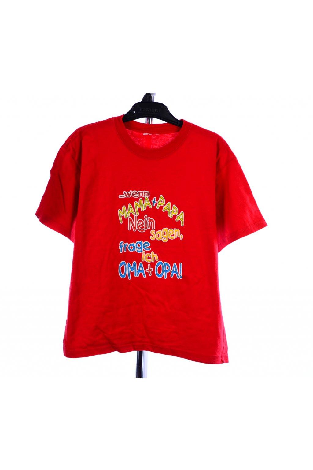 Tričko červené s nápisem vel. 140 - 146