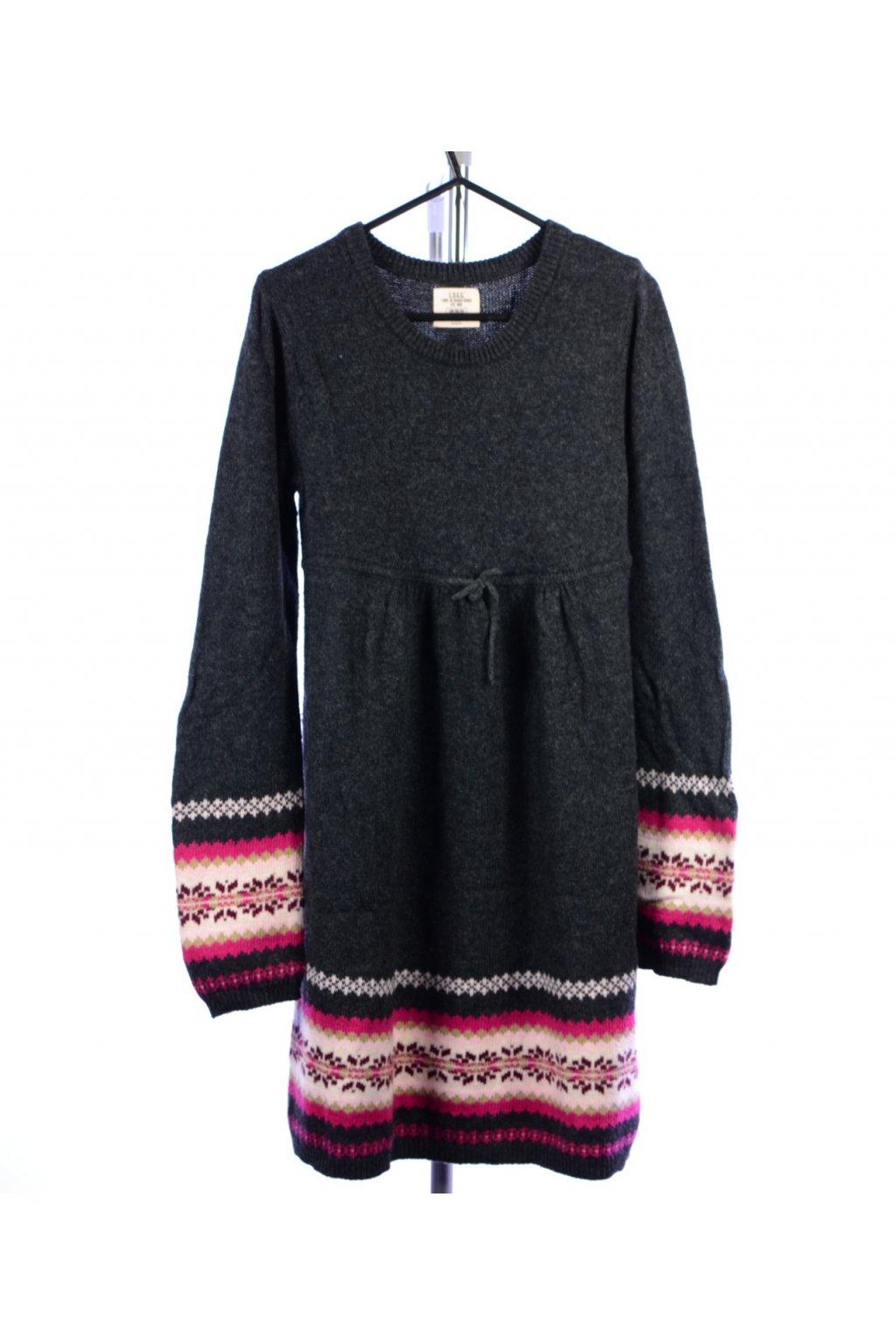 Šaty H&M pletené úpletové 158/164 – XS šedé se vzorem