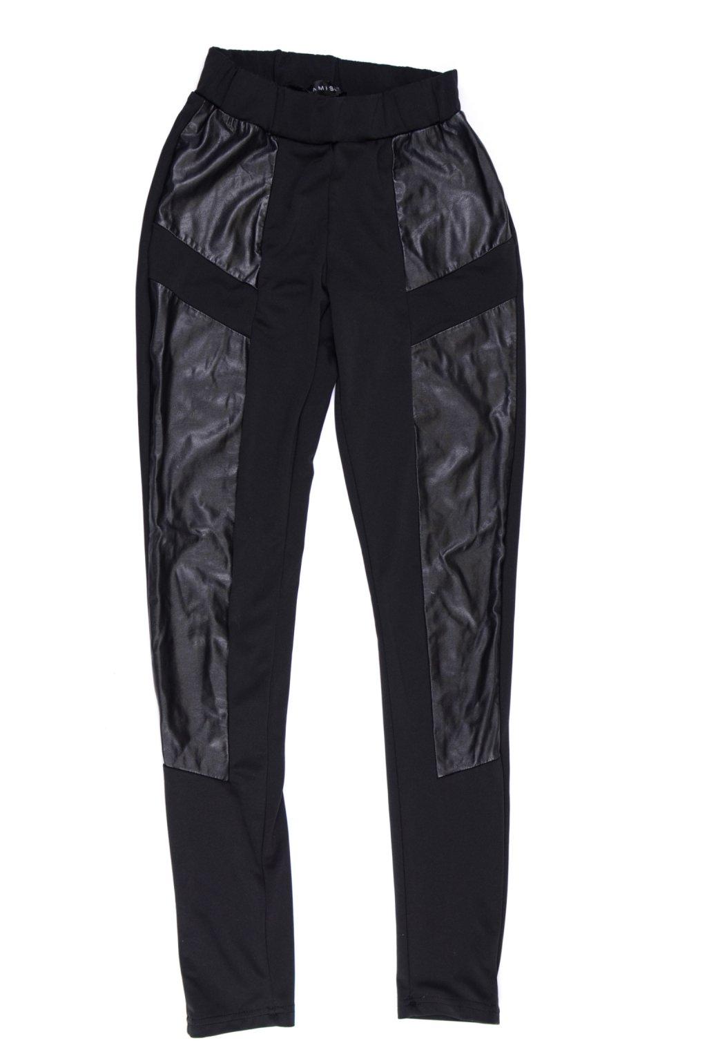 Kalhoty legíny Amisu 36 černé s imitací kůže